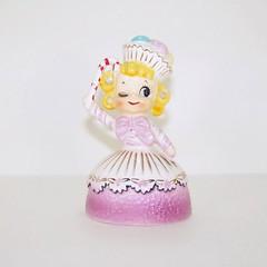 Enesco Sweet Shoppe Cupcake and Candy Cane Girl Figurine (filigreefairy) Tags: enesco sweetshoppe cupcake candycane christmas holiday vintage ceramic madeinjapan girl