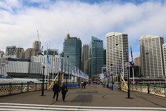 Darling Harbour (lukedrich_photography) Tags: australia oz commonwealth        newsouthwales nsw canon t6i canont6i history culture sydney       metro city darling harbour cbd centralbusinessdistrict longcove pyrmont bridge walkway path architecture building skyrise flag lamppost pedestrian view skyline cityscape
