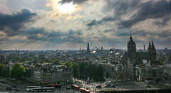 Amsterdam From Skylounge (Andy.Gocher) Tags: andygocher canon100d europe holland netherlands sunset architecture skyline city amsterdam aerial skylounge hilton hotel doubletree