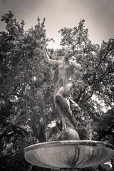 Fountain Muse (Rice Bear) Tags: audubonpark lousiana neworleans statue louisiana unitedstates us fountain blackandwhite bw trees bronze