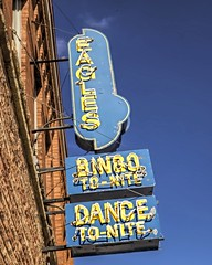 BINGO To Nite (Pete Zarria) Tags: minnesota eagles fraternal neon sign bingo dance smalltown america city fun