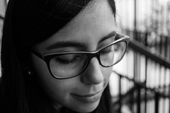 Kari (The sky is falling down, This night belongs to you) Tags: negra morena glasses girl portrait black white retrato