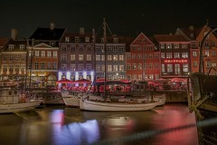 between mooring lines (karinavera) Tags: travel nikond5300 copenhagen night kbenhavn urban street port havn nyhavn boat denmark longexposure city