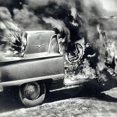 You Know the Shape That I've Been In (Thomas Hawk) Tags: america california pier24 secondhand usa unitedstates unitedstatesofamerica appropriation burningcar car sanfrancisco us fav10 fav25 fav50