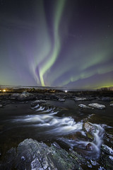 Water flowing under the burning sky (Leksa87) Tags: canon eos 6d landscape night light painting aurora borealis northern lights white water rapids