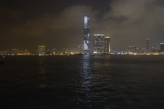 International Commerce Centre (Sean Munson) Tags: hongkong internationalcommercecentre night victoriaharbor water