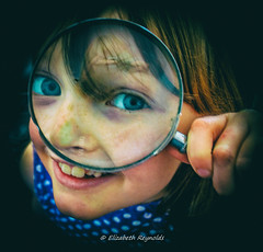 Day 324, 2016, a photo a day. (lizzieisdizzy) Tags: child girl female daughter kid pretty beautiful smiling eyes blue bright lashes smile laugh laughing teeth crooked lips fairhaired spottytop glass magnifying round circular