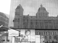 'Creative, cultural, lively...' (reflection of the Port of Liverpool Building, Liverpool Waterfront) (Steve Hobson) Tags: liverpool reflection port building waterfront merseyside
