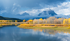 Oxbow Bend (MarkWarnes) Tags: bluesky autumn grandteton water grandtetonsnationalpark grandtetons nationalpark reflection snakeriver jacksonhole trees grandtetonnationalpark fall aspen wyoming