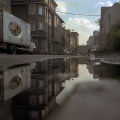 Bytom, Poland. (wojszyca) Tags: yashica mat 124g tlr 6x6 120 mediumformat kodak portra 160 gossen lunaprosbc epson 4990 city urban decay bytom puddle reflection street