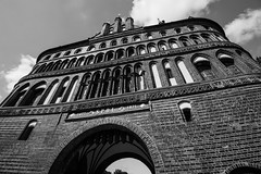 Lbeck - Holstentor (superbart77) Tags: architecture blackandwhite city clouds holstentor lbeck tor citygate gate historiccitycenter oldtown pass