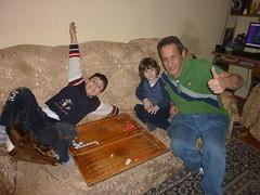 Playing Nardi (backgammon) with my new nephews (RickyOcean) Tags: armenia noragavit edgar kevork nardi backgammon