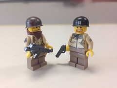 Lego US Sergeant and Lieutenant (ranger3181) Tags: brick soldier army us arms lego jacket ww2 warriors custom decals officer tanker sarge helmets sergeant brickarms worldwartwo2 citizenbrick brickwarriors