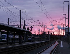 Ambiance ferroviaire (- Oliver -) Tags: sunset train soleil coucher sncf