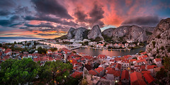 Aerial View of Omis and Cetina River at Dramatic Sunset, Dalmatia, Croatia (ansharphoto) Tags: road old city travel bridge roof sunset red sea sky urban panorama cliff house mountains building tree history water rock electric skyline architecture night clouds river landscape lights evening town twilight europe mediterranean european cityscape village dusk dramatic croatia landmark canyon medieval illuminated gorge iconic vacations adriatic dalmatia cetina omis