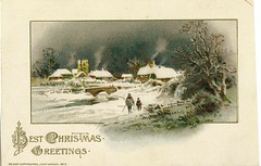 Antique Christmas Postcard - A Snowy Village (Brynn Thorssen) Tags: santa christmas xmas red holiday snow green vintage gold antique holly postcards yule fatherchristmas santaclaus merrychristmas santaklaus happynewyear happychristmas yuletide oldsaintnick
