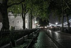 Tower Of London (DanRansley) Tags: street city london castle night towerbridge bench lights streetlamp railing cobbles toweroflondon