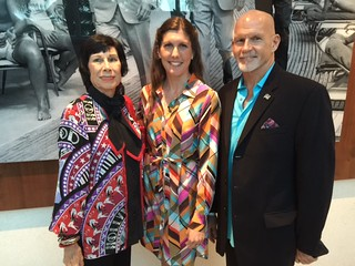 Artist Erika King with Amanda Erlinger and Cash McMahon at the Frank Sinatra photo exhibit unveiling in the Fontainebleau hotel