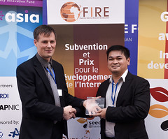 ISIF ASIA and FRIDA AWARDS 2012 .In the category of Innovation on learning and localization, the winner is Ligtas Buntis: Safe Motherhood Project using SMS Technologies (Philippines), represented by M