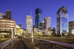 Sabine To Bagby Promenade Skyline (Mabry Campbell) Tags: bridge usa building skyline photography photo texas photographer unitedstates image fav50 january houston nopeople fav20 photograph promenade 100 24mm fav30 f71 archtecture fineartphotography architecturalphotography 2015 colorimage commercialphotography fav10 harriscounty fav40 fav60 150sec architecturephotography fav70 fineartphotographer tse24mmf35lii mabrycampbell january182015 20150118h6a2852