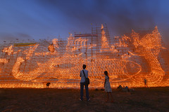 Illuminated Boat Procession (SaravutWhanset) Tags: travel light festival night asian thailand fire asia thai twopeople fireboat amezing jouner llluminateboat