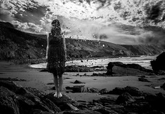 Lost to the wind (Elliot Tratt) Tags: girls sea portrait blackandwhite white seascape black water girl monochrome rock female clouds composition photoshop portraits season landscape lost photography mono landscapes seaside model rocks cornwall seasons wind models rocky teens windy monochromatic teen barefoot ethereal teenager waters cloudscape edit ether teenage distant edits disruption blackorwhite composure teenmodel disintergration ethereality