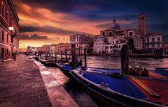 The Grand Canal (www.vincent.photo) Tags: world travel venice sunset sky italy colors beautiful clouds boat canal italia cityscape dusk grand venise venezia italie discover