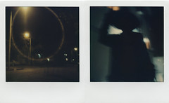 Into The Night Diptych (LeandroF) Tags: color600 gen3 impossibleproject polaroidslr680 slr680 diptych polaroid polaroidweek2016 polaroidweek fall autumn night dark motion shadow figure
