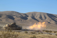 Abrams Fires 2 (pao3abct) Tags: 3rdarmoredbrigadecombatteam 3abct 4thinfantrydivision 4id 410cav 166armorregiment 168armor abrams tank bradley ntc national training center fortirwin nationaltrainingcenter army fortcarson
