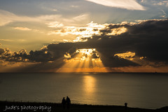 Golden reflection (judethedude73) Tags: sunset dusk sea reflections water coast coastal landscapephotography landscapes light sun rays sky skies clouds silhouette seven sisters sussexdowns