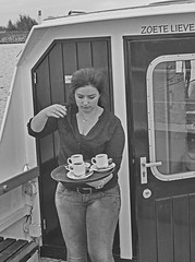 Coffee on the water (Wookiee!) Tags: woman girl voluptueus voluptuous pretty mooi beauty schoonheid brunette young waitress coffee boat water nl noordbrabant 073 shertogenbosch denbosch den bosch duketown the netherlands nederland nederlands dutch holland bw blackandwhite noiretblanc schwarweiss zwartwit zwart wit black white monochrome zw photoshop cc2015 canon d500 dlsr 35mm lens wwwgevoeligeplatennl