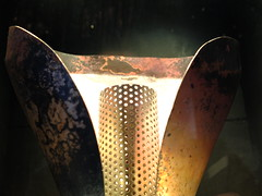 Olympic Torch (failing_angel) Tags: 051215 london cityoflondon museumoflondon london2012cauldron heatherwickstudio petals copper gold silver bronze olympictorch