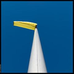 A Windsock (Mika Latokartano) Tags: blue yellow flagpole windsock simple minimalistic