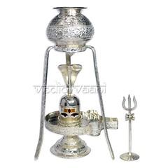 Shivling Abhishek,Silver Shivling with Yoni base,Shiva lingam (vedicvaani) Tags: shivling shivlingam silver set yonibase shiva lord shivaling banalingam stand tripod trishul trident tilak eyes