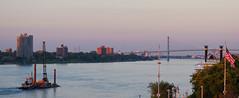 Detroit River (chuckh6) Tags: detroitriver barge bridge river