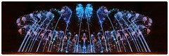 Jeux d'eau bleue (Pi-F) Tags: fontaine jet eau jeu bleu barcelone espagne place symtrie corolle rond