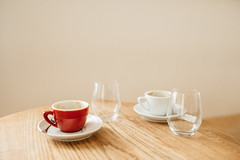 Red Cup (M. Klasan) Tags: red cup coffee bar bistro cafe brew porcelain glass wood material bone china drink relax chill interior indoor fuji fujifilm xt2 23mm 14