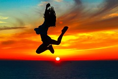 Sunset jumping by my oldest daughter - Tel-Aviv beach (Lior. L) Tags: sunset jumping telaviv beach freedom sea sky silhouettes action travel love life nature sunsetjumping telavivbeach motion livefree