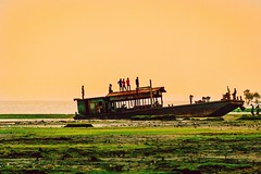 The obsolete steemer at Sandeep ghat! (Curious ClickZ of Rezwanul Alam) Tags: ship obsolete boys sandeep chittagong beautifulbangladesh beach grass sky sea bayofbengal photography canoneos70d lightroom