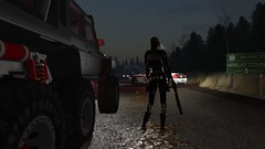 This doesnt look good (alexandriabrangwin) Tags: alexandriabrangwin secondlife 3d cgi computer graphics virtual world photography thehive raccon city resident evil outskirts town road abandoned police cars disaster dark forest mercedesbenz g63 6x6 amg truck adventure adventurer adventuring shiny glossy black rubbe rlatex catsuit corset shotgun tactical outfit guns pistols buckles straps boots headlights arklay county