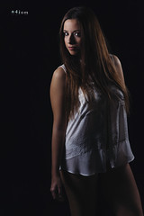 Marina - White shirt III (maikel_nai) Tags: marinaguerrero girl model whiteshirt lowkey pinklips hazeleyes n4i n4ies 2016 braless canon5d 85mm photoshoot studio blackheels makeup saragonzalez brunette portrait