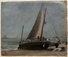 Brighton Beach, with Fishing Boat and Crew (jhitzeman) Tags: victoriaandalbertmuseum va london kensington johnconstable oilsketch