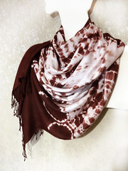 Hand-dyed shibori scarf (arireven) Tags: scarf shibori shawl brown rayon wrap sarong