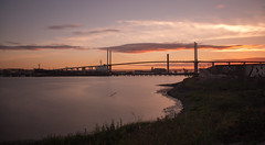 Lonely Stick (Graeme Andrews) Tags: bridge sunset river landscape pentax riverthames atmospheric dartfordcrossing nd110 tenstopfilter qebridge pentaxkr bwnd30x1000
