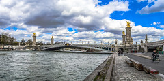 Pont Alexandre III (Martin Smith - Having the Time of my Life) Tags: panorama paris france clouds river ledefrance cyclist pano fr pontalexandreiii riverseine martinsmith 4shotpanorama nikond7000 paris2015 martinsmith nikkor1855mmf3556gvrii