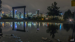 Rainy Night in Stanley Park (jennchanphotography) Tags: nightphotography bridge light night vancouver buildings gate downtown bokeh trails seawall lions stanleypark raincouver jennchanphotography