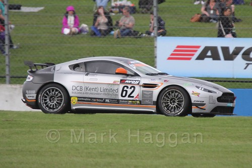 The Academy Motorsport Aston Martin V8 Vantage GT4 of Chris Webster and Daniel Lloyd in British GT Racing at Donington, September 2015