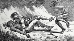 """""""Andrew Poe's famous combat with Big Foot."""" From """"Our Western Border"""" by Charles McKnight (1881). (lhboudreau) Tags: illustration book etching drawing indian illustrations drawings books nativeamerican engraving indians pioneers combat stories bigfoot pioneer poe wildwest americanwest nativeamericans frontiersman narrative americanindians americanindian bookart mcknight engravings mccurdy hardcover americanhistory etchings historybook oldwest 1881 vintagebook westernhistory narratives vintagebooks classicbook theoldwest hardcovers classicbooks historybooks westernborder hardcoverbooks frontiersmen westernexpansion hardcoverbook vintagehardcoverbook classicstories charlesmcknight westernstories pioneerstories vintagestories mccurdyco andrewpoe vintagehardcoverbooks ourwesternborder jcmccurdy jcmccurdyco westernchronicles pioneerchronicles vintagehistorybook vintagehistorybooks"""