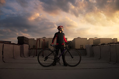 Night Rider (Zack Ahern) Tags: newyorkcity sunset portrait sky rooftop bike brooklyn clouds self cycling cyclist zack ahern cannonade