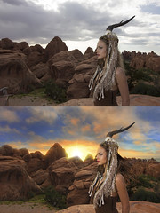 Bloom Photo Retouch (Bloom Photo Retouch) Tags: sunset woman sunlight girl photomanipulation sunrise hair desert wind indian digitalart creative jewelry photoediting strong archesnationalpark powerful americanindian headpiece postprocessing photoretouching wwwbloomphotoretouchcom